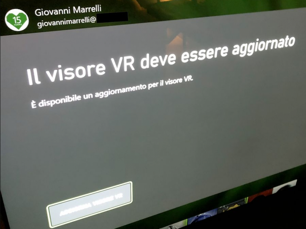 An update for the VR headset is available